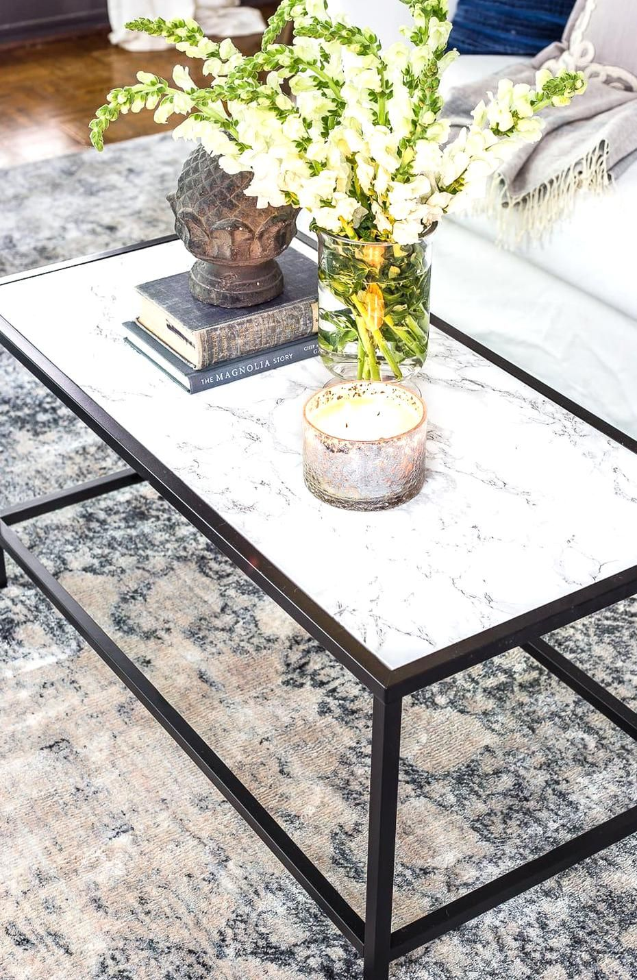 A Simple Tutorial For How To Transform Furniture To Look Like Marble With Marble Look Contact Pape Ikea Coffee Table Coffee Table Hacks Marble Top Coffee Table [ 1430 x 930 Pixel ]