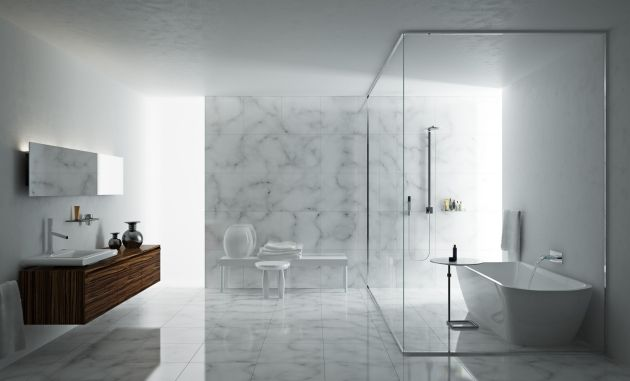 Badezimmer Minimalismus Wand Boden Marmor Fliesen Weiß Grau  Duschkabine Freistehende Wanne