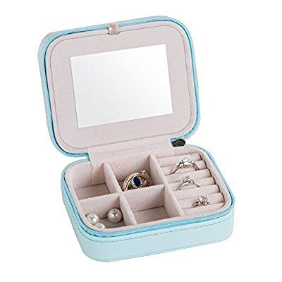 Small PU Leather Travel Jewelry Box Organizer with Mirror