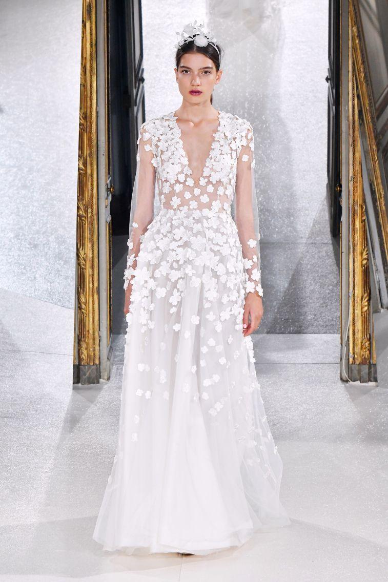 Kaviar Gauche Spring 2018 Wedding Dresses La Vie En Rose long sleeves 3d floral applique a line wedding dress #weddingdress #weddinggown #floralapplique