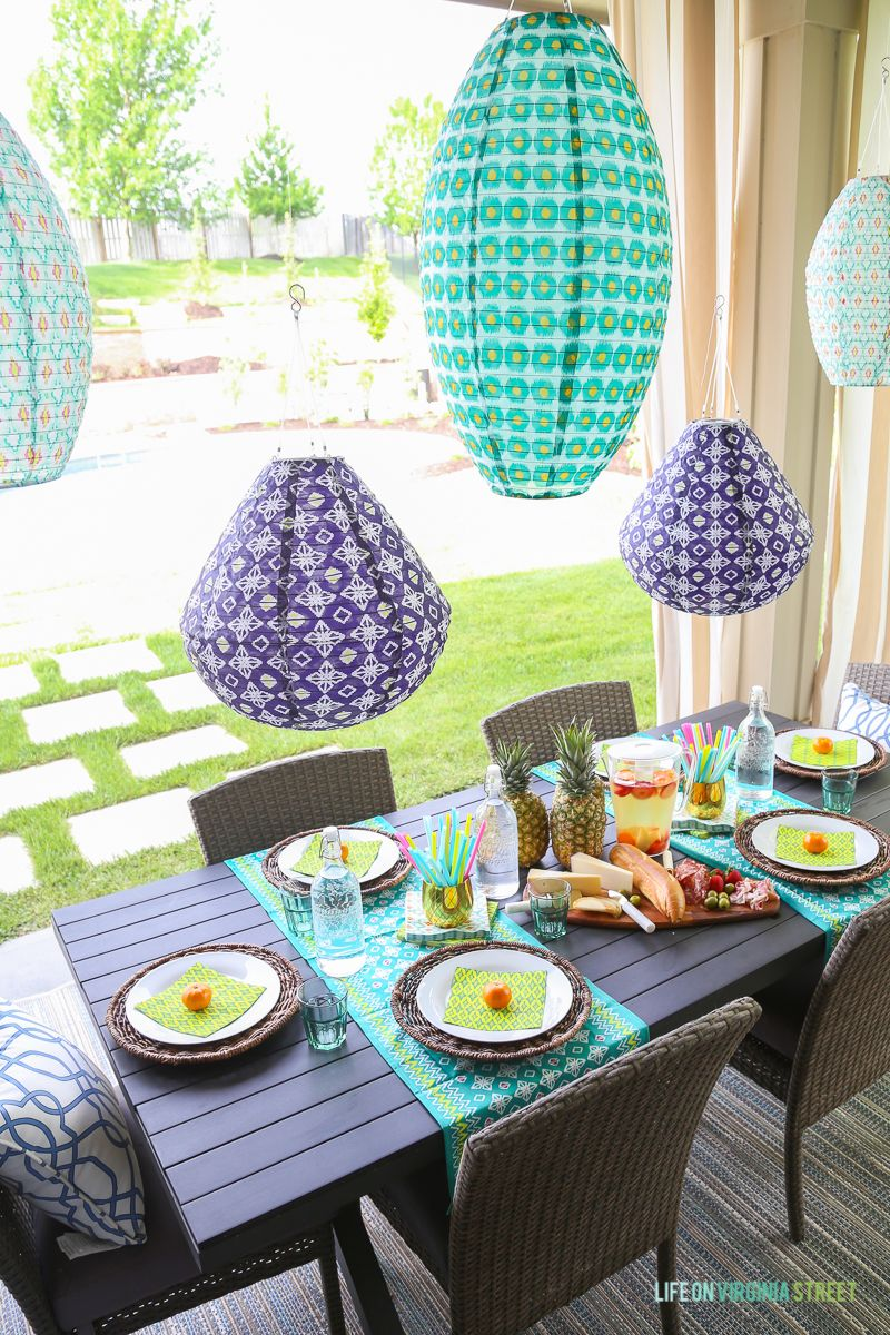 Patios · Tips For Simple Summer Entertaining. Love The Colorful Outdoor  Lanterns ...