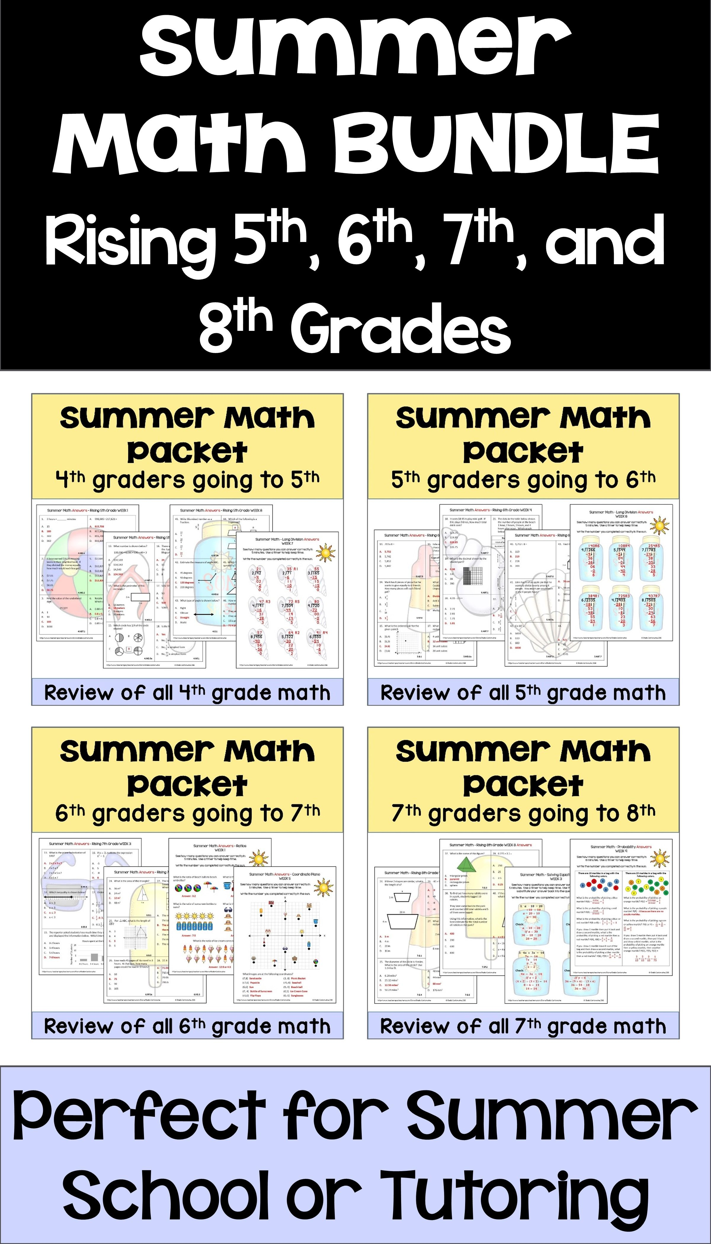 Summer Math Packet Bundle For Rising 4th 5th 6th 7th And 8th Grade Students Summer Math Math Packets Summer Math Packet