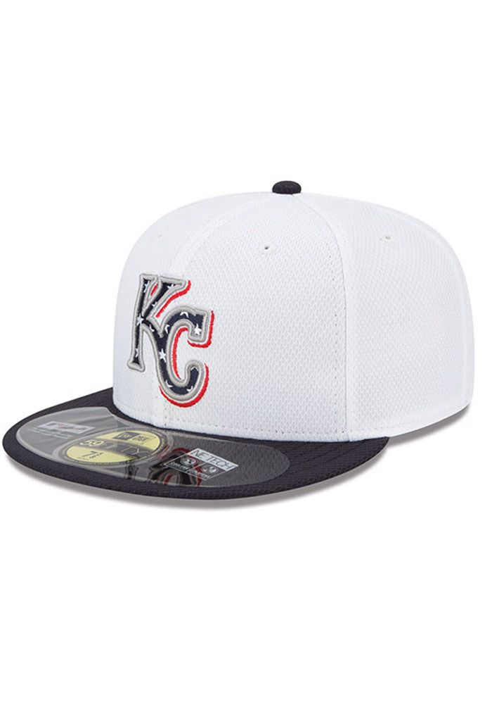 5e8c381fe51 Kansas City Royals New Era Mens White 2013 Stars and Stripes 59Fifty http