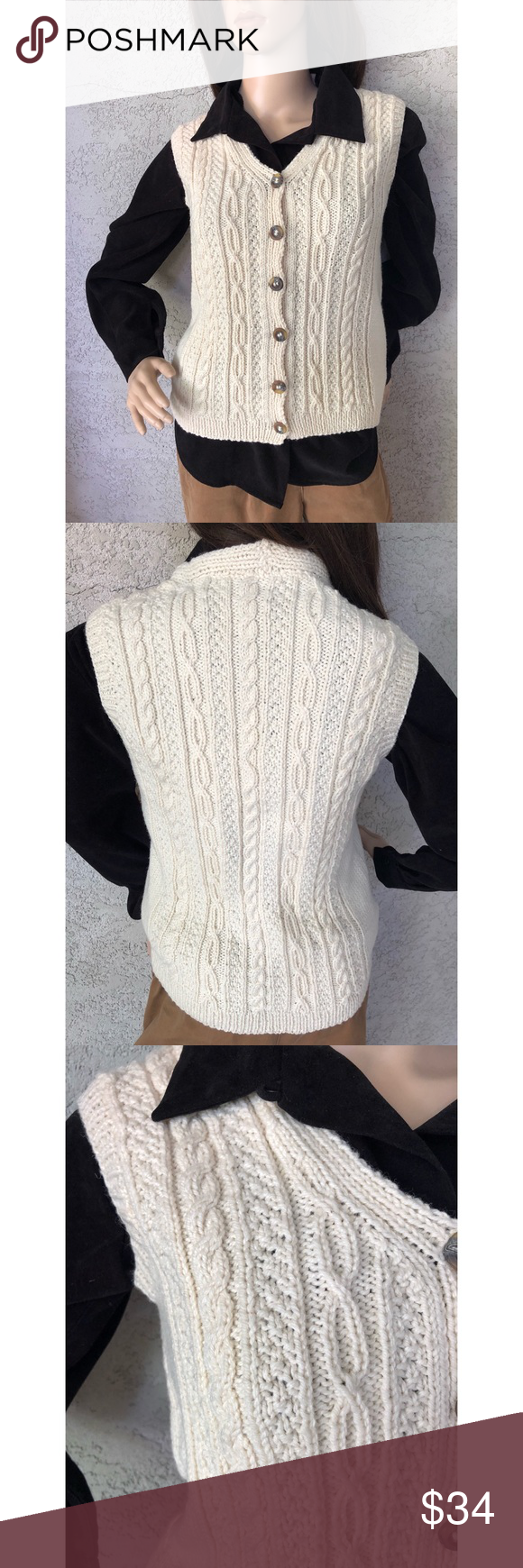 Vintage Cable Knit Cream Colored Sweater Vest This Hand Knitted Sweater Vest Is A Beauty Qualit In 2020 Hand Knitted Sweaters Cream Colored Sweater Knitting Designs