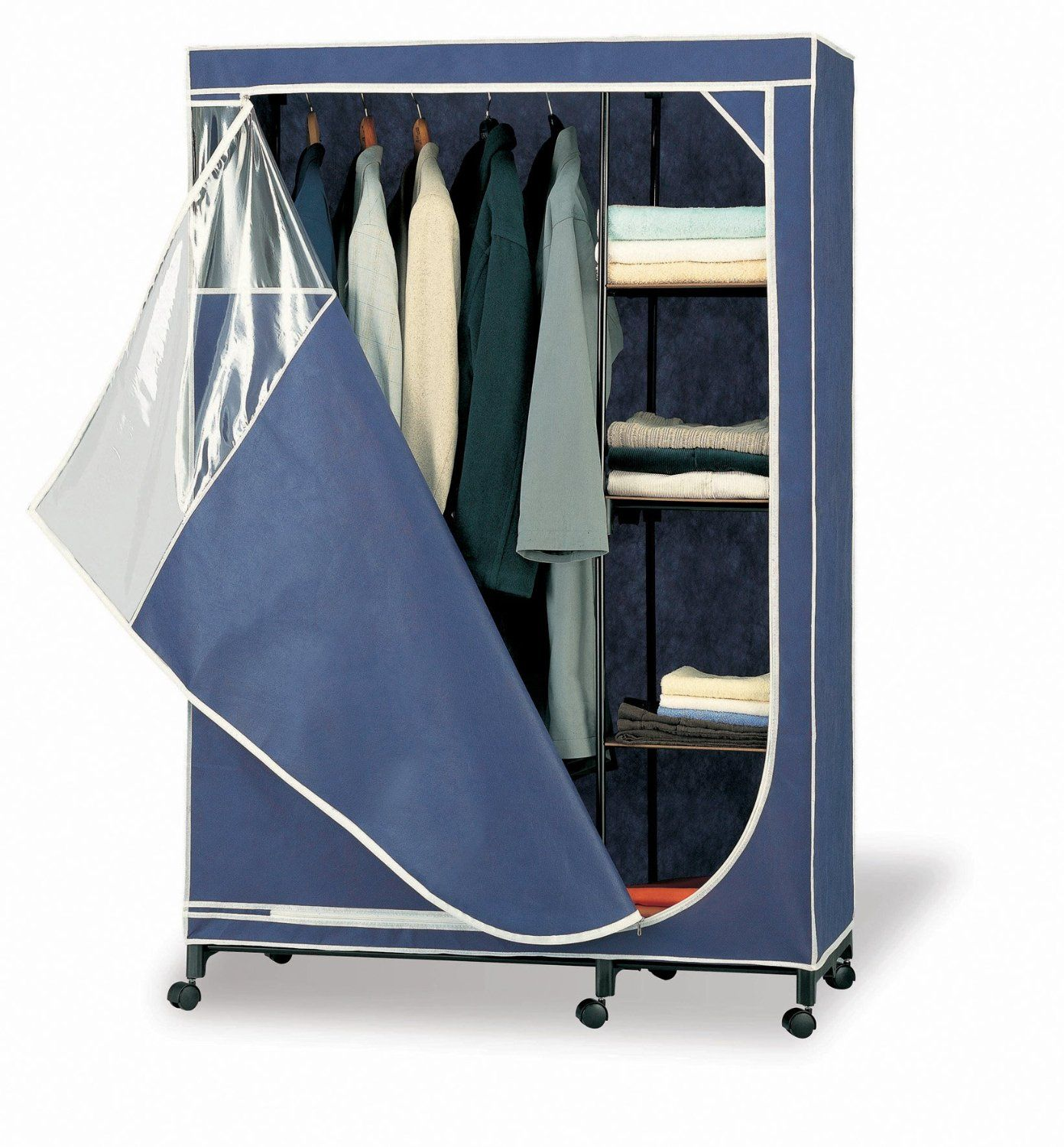 Portable Free Standing Closet With Blue Color Cover Free