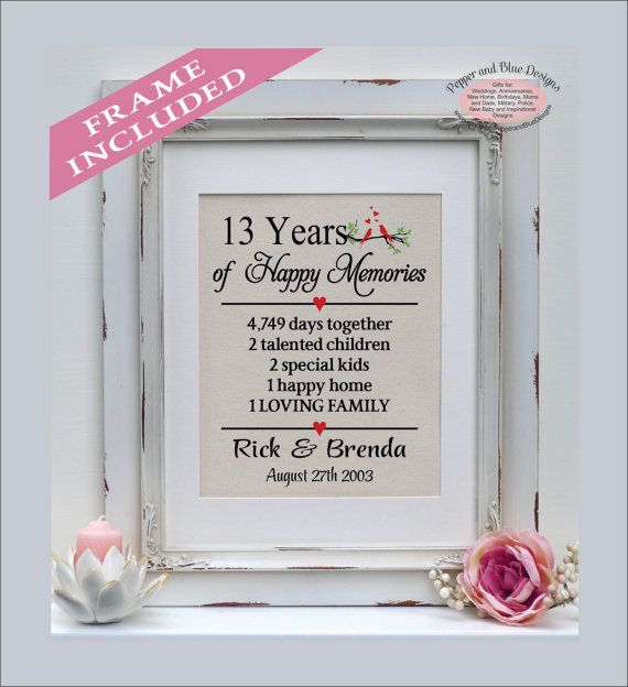 13th Wedding Anniversary Gifts 13 Years By PepperandBlueDesigns