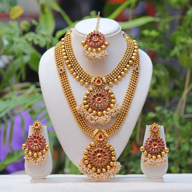 Traditional South Indian Flower Design Maroon Semi Bridal Necklace Set Online 100