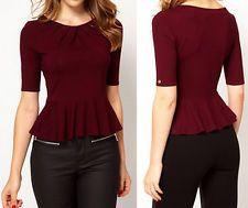 Burgundy Colored Tops | new wine red slim women short sleeve business peplum Tops blouse shirt ...