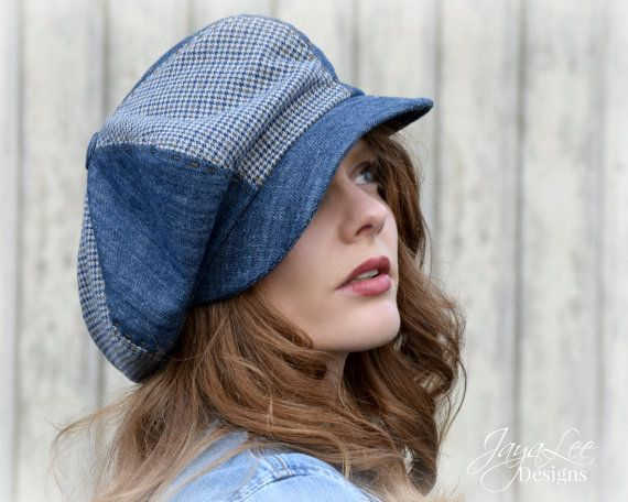 Oversized Newsboy Cap Slouchy Denim Patchwork by GreenTrunkDesigns ... 1a3e01fa103