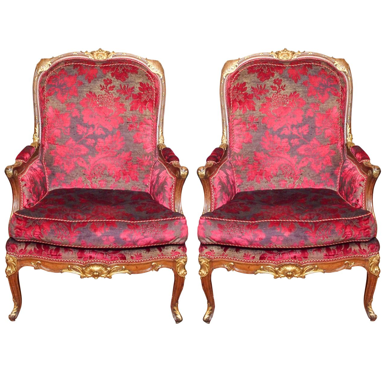 Pair of French Napoleon III Parcel Gilt Bergere | From a unique collection of antique and modern bergere chairs at http://www.1stdibs.com/furniture/seating/bergere-chairs/