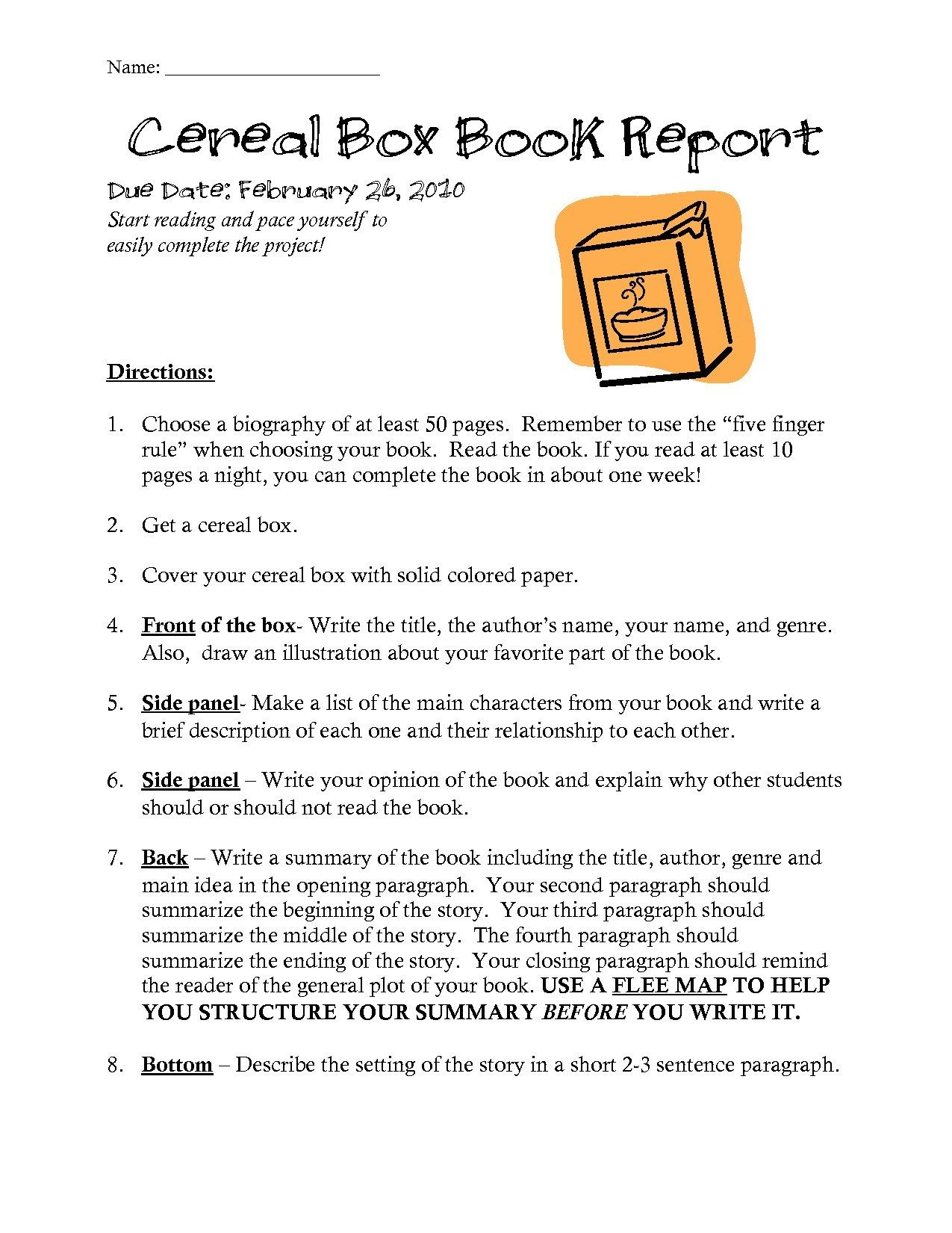 Cereal Box Biography Template Within Cereal Box Book