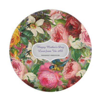 Vintage Roses Mother\'s DAY GIFT - CHANGE TEXT Paper Plate