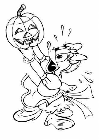 уточка Дейзи с тыквой раскраска к Хэллоуину распечатать ...