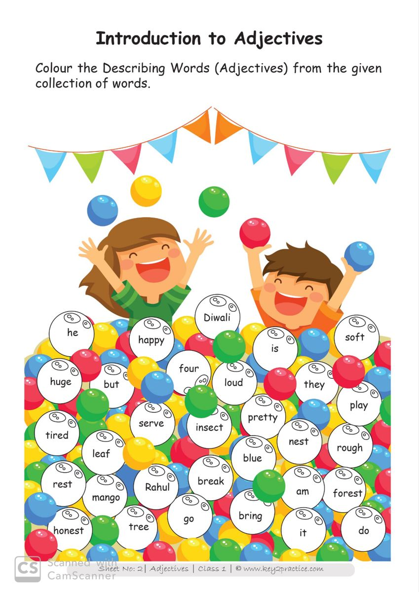 small resolution of English Worksheets Grade 1 Chapter Adjectives - key2practice Workbooks    Describing words