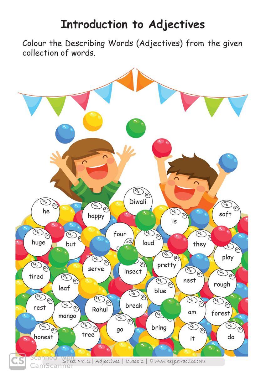 English Worksheets Grade 1 Chapter Adjectives - key2practice Workbooks    Describing words [ 1200 x 849 Pixel ]