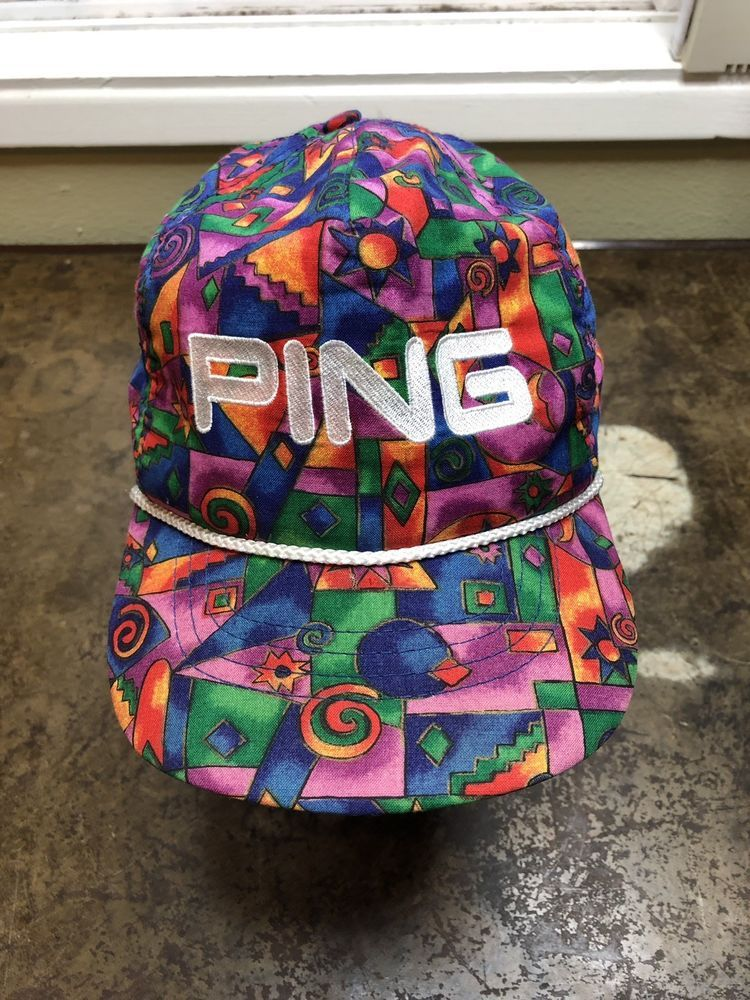 new arrival f1773 2fc61 Ping Hat Vintage Golf Multi Color Strapback All Over Colorful Rare USA Made   Ping