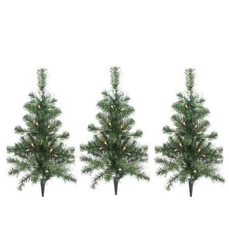 Pack of 3 Lighted Christmas Tree Driveway or Pathway Markers Outdoor