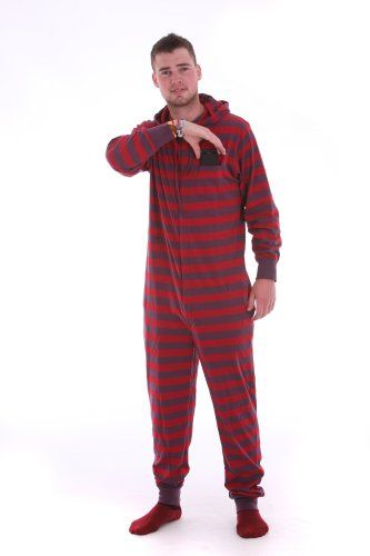 d73759ee16 Amazon.com  Funzee Adult Striped Hooded Onesie Non Footed Pajamas  Loungewear or Sleepwear for Men and Women Retro Style XS-XXL  Clothing