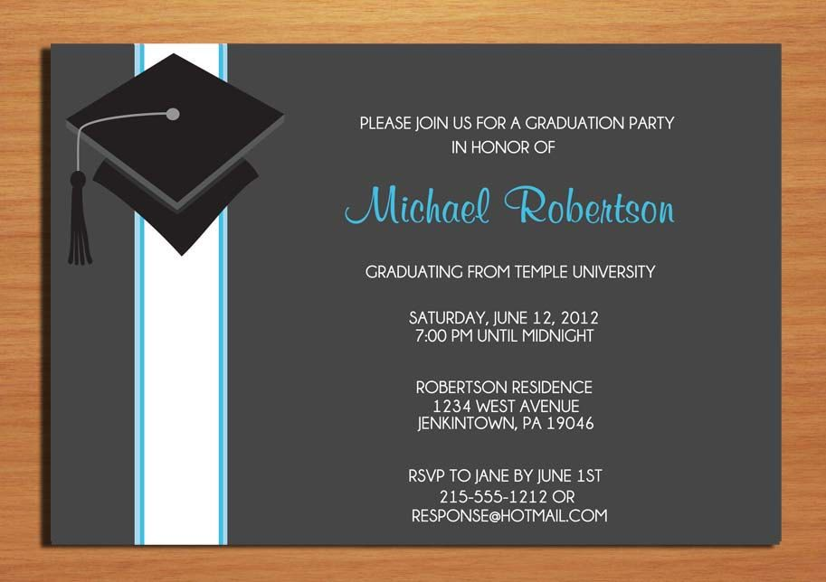 graduation party party invitations wording blue cap and ribbon graduation party invitation cards printable diy - Graduation Party Invitation Ideas