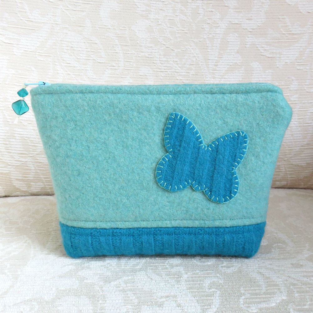 Upcycled Felted Sweater Wool Clutch Blue Butterfly Zippered Pouch