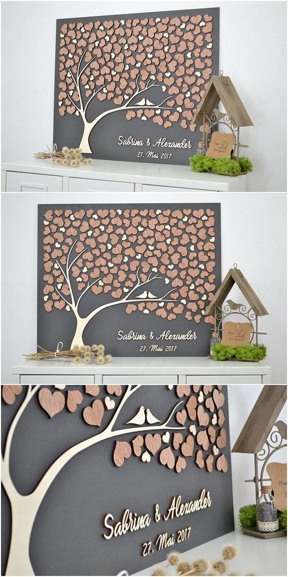 3D LIEBESBAUM Hochzeit Gästebuch Alternative Baum Holz Benutzerdefinierte einzigartige Gästebuch – Holz DIY Ideen