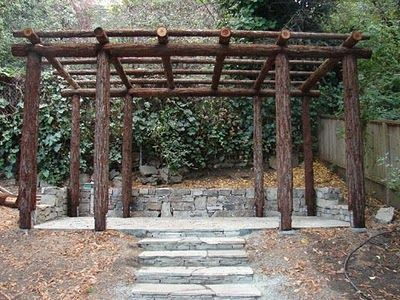 My mom was always building beautiful structures like this for her vines. Pergola  Plans, - Decorating The Great Outdoors Landscaping Pinterest