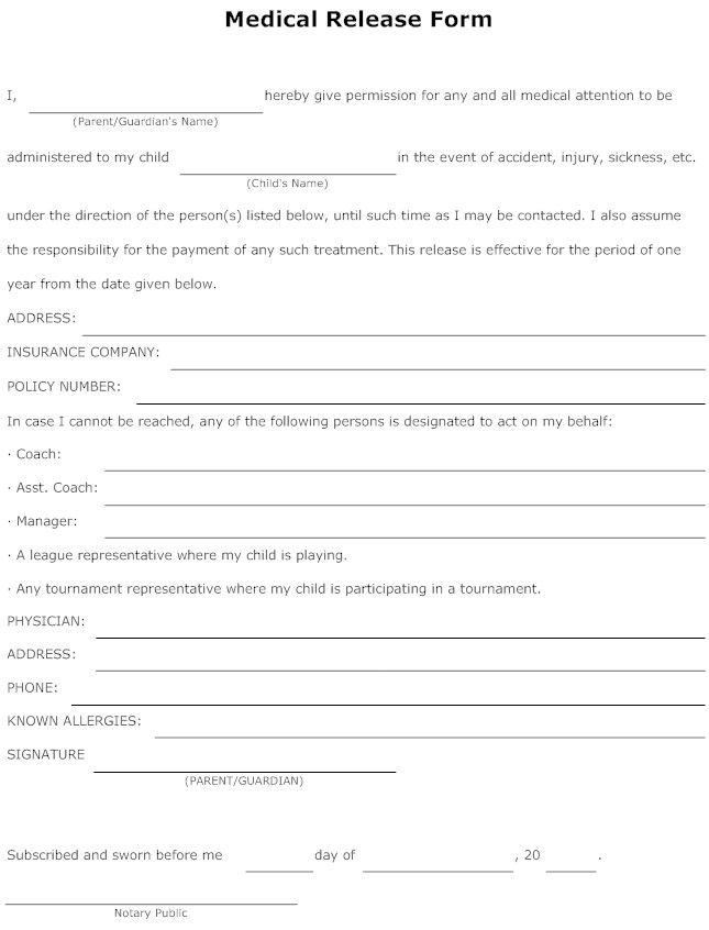 Release Form Sample images release form – Medical Release Form