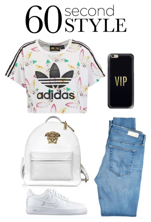 """60's"" by jessicabiazi ❤ liked on Polyvore featuring AG Adriano Goldschmied, NIKE, adidas Originals, Casetify, Versace, DRAKE, views and 60secondstyle"