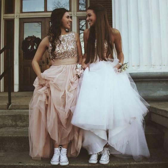 2017 Custom Made Charming Sequins Prom Dress,Chiffon Beaded Evening Dress,Sleeveless Party Dress(the Left)