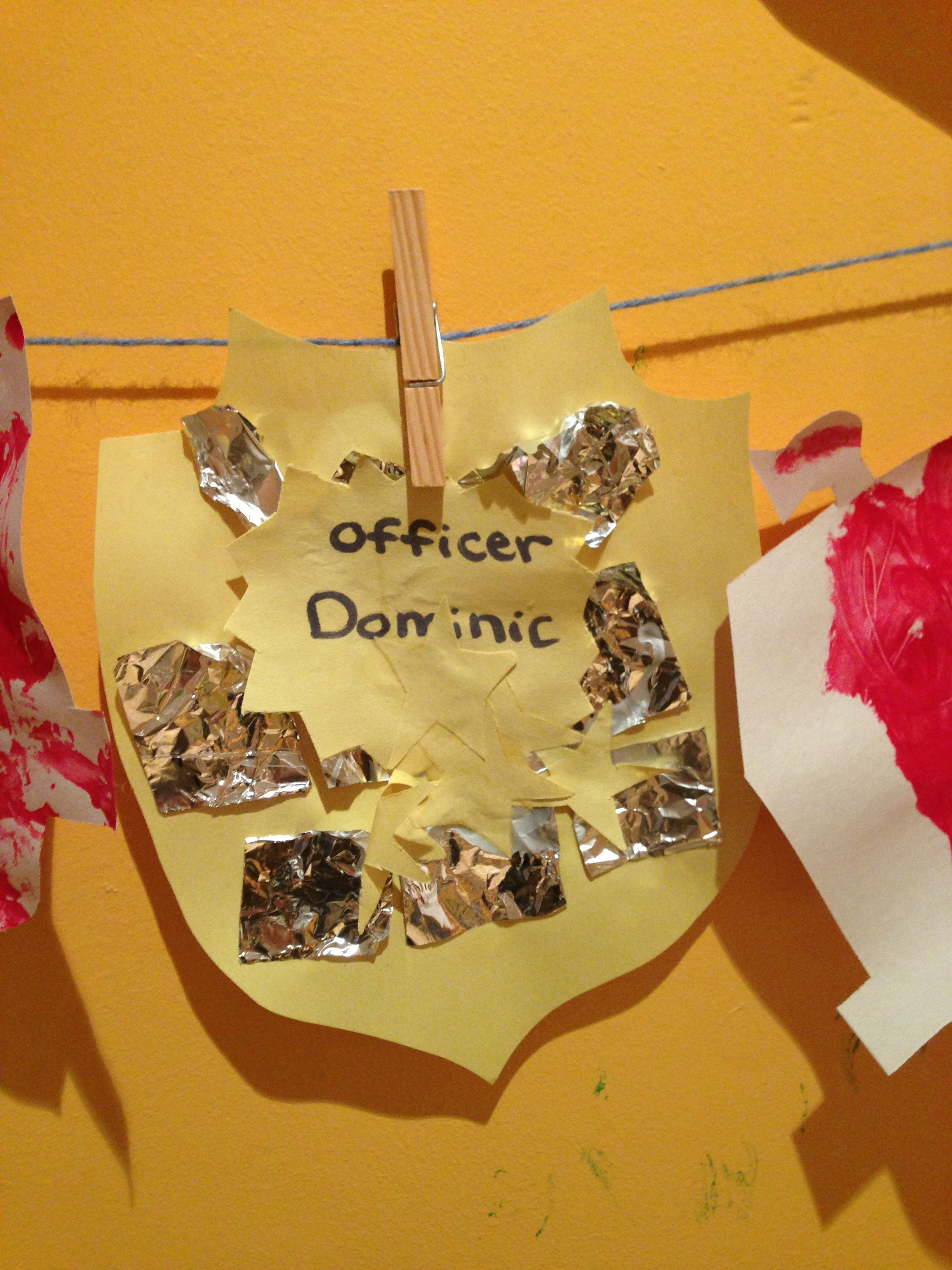 community helpers theme police badges glue foil then write name