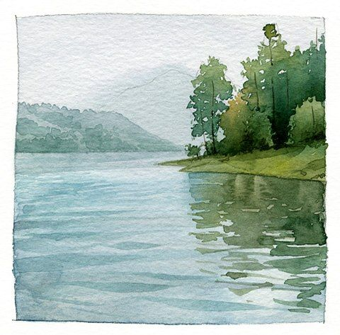 Lake Sunset Coloring Watercolor Landscape Landscape Paintings