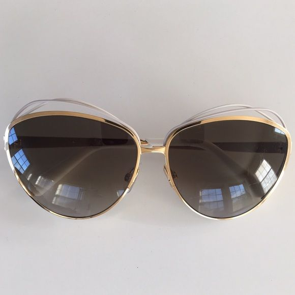 3b85007daeae Christian Dior golden metal butterfly sunglasses Christian Dior golden  metal butterfly sunglasses with white and soft