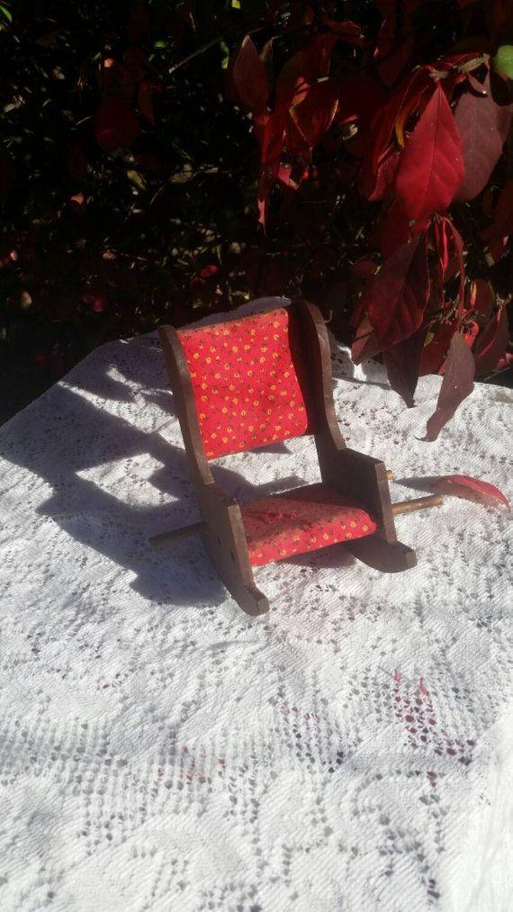 Wood Rocking Chair Vintage Pincushion Thread by AppalachiaAntiques