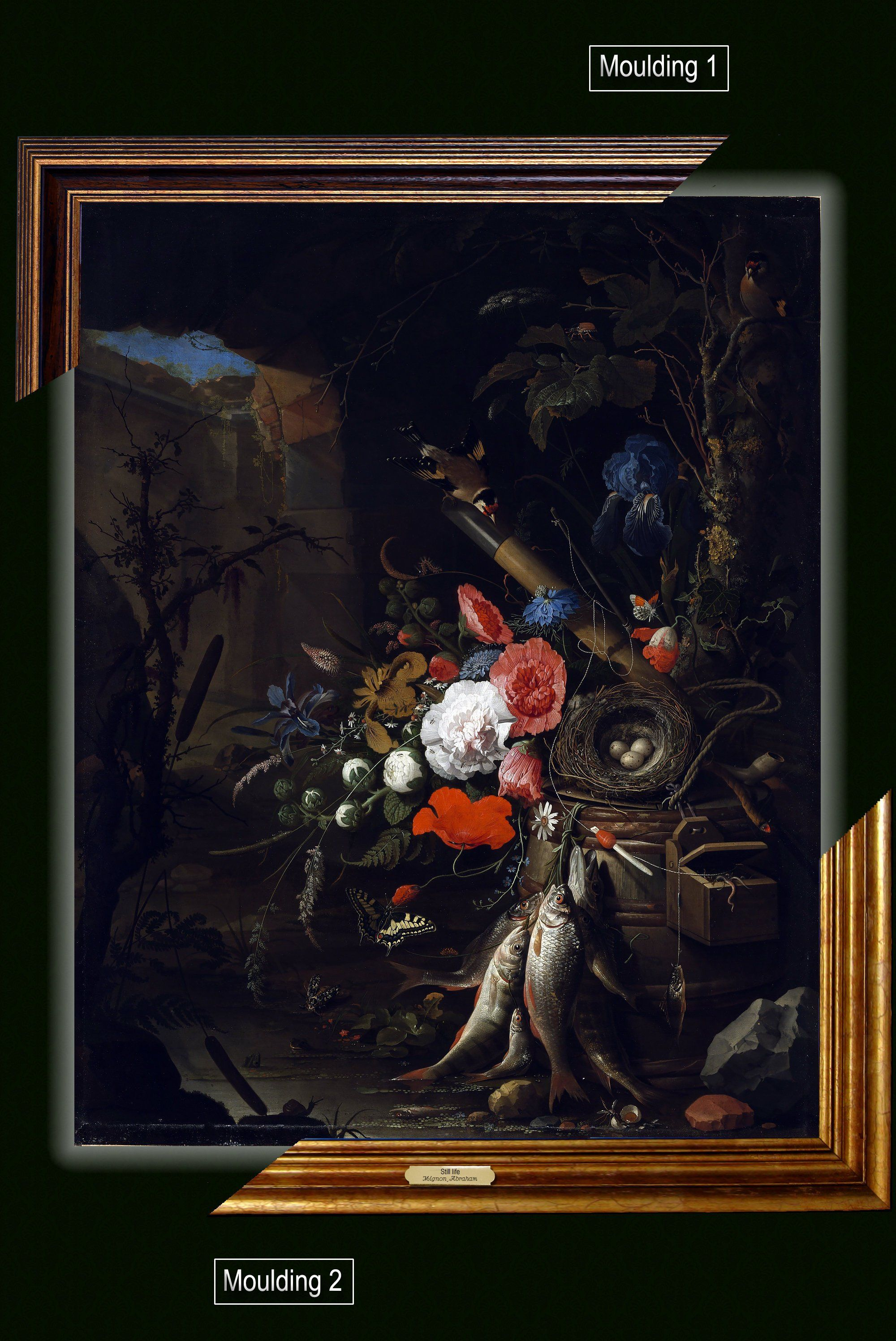 Canvas framed print, Still Life in a Grotto with Flowers, Fish and a Bird's Nest, Abraham Mignon, giclee canvas, nameplate