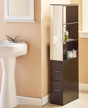 Slim Bathroom Organizer With Mirror Bathroom Organisation Bath Storage Organization