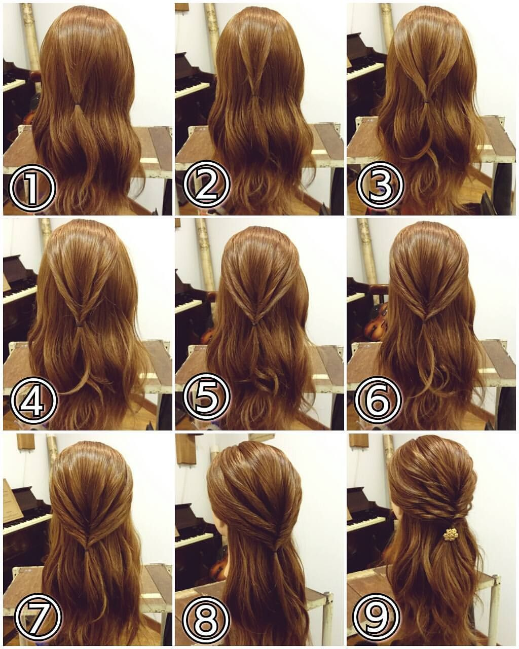 先程の投稿スタイルの作り方です ハーフアップアレンジ トップを幅を少し狭くとり ぼんのくぼの上あたりでルーズにゴムで結びます それをくるりんぱします その両わきの髪をとり後ろで結びます それもくるりんぱします また両わきの髪をとり