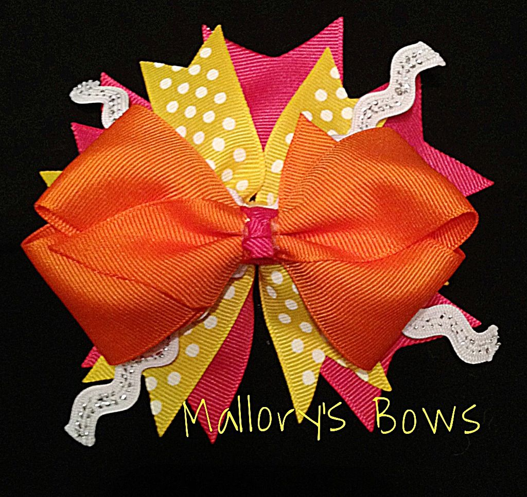 Orange yellow u pink hair bow exclusively by malloryus bows