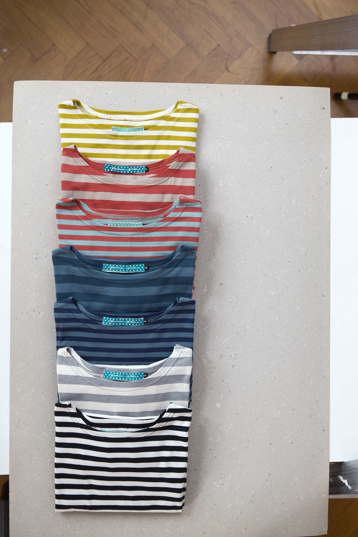 Frühjahrsmode Basic 2013 - Modische Farben und klassische Streifen zieren die T-Shirts und Kleider der Basic Kollektion 2013. Sie bestehen aus langfaseriger, ägyptischer Baumwolle.