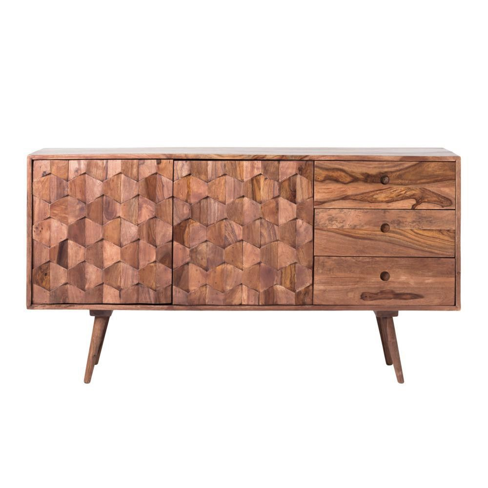 """Solid sheesham wood. 55"""" w x 18"""" d x 30"""" h. Please allow approximately 3 weeks for delivery. Other pieces in the Juno Collection: Bookshelf, Chest, Desk, Nightstand, TV Cabinet."""