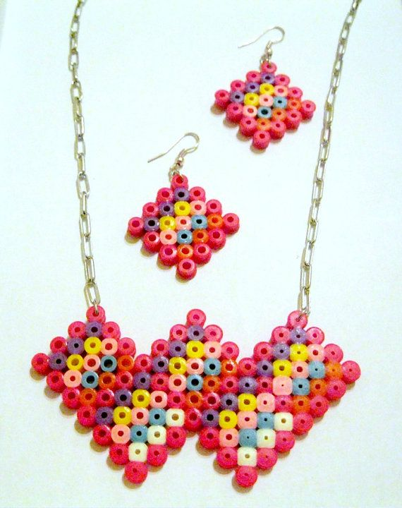Pack Neckalce and  Earrings Hama perler beads by Regalopia