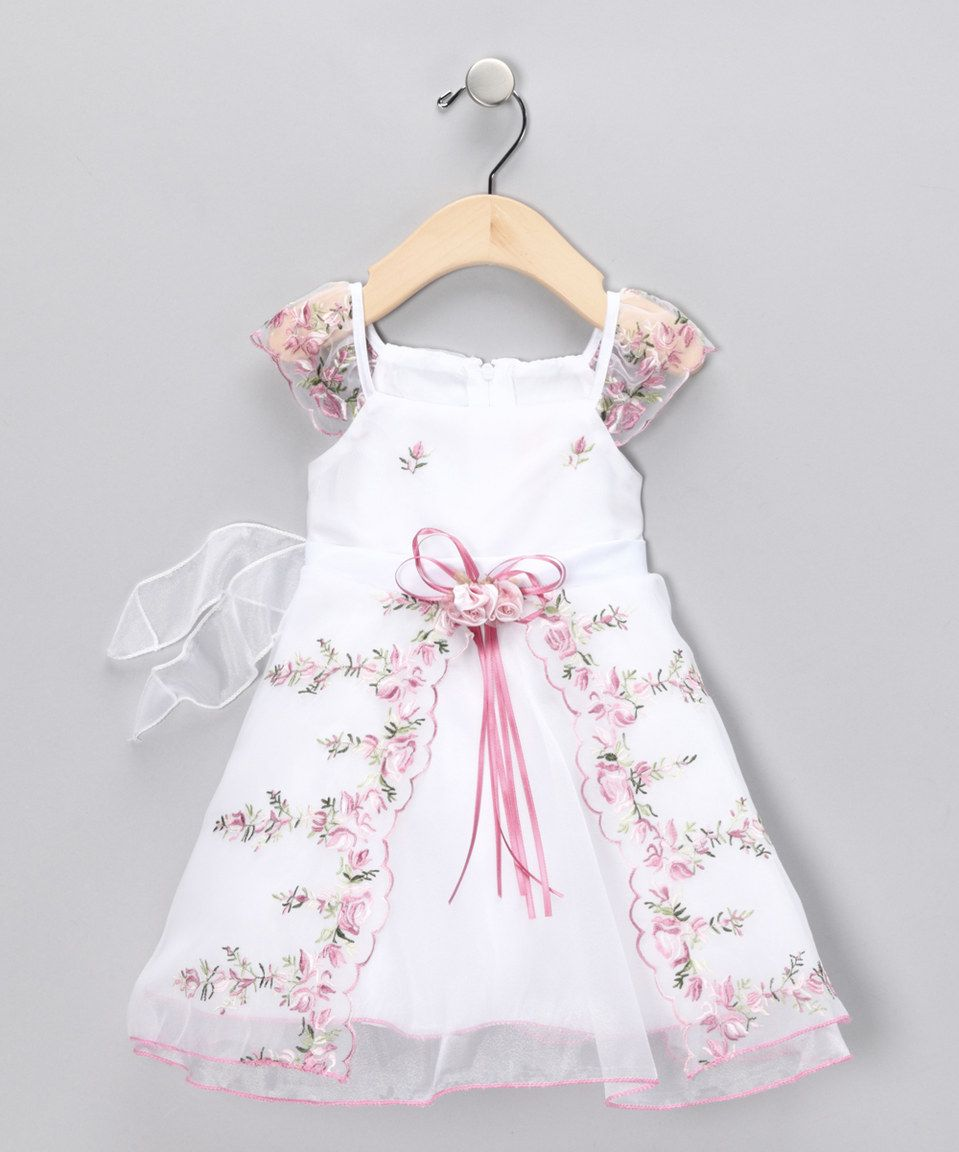 This Chic Baby Pink Floral Angel-Sleeve Dress - Infant by Chic Baby ...