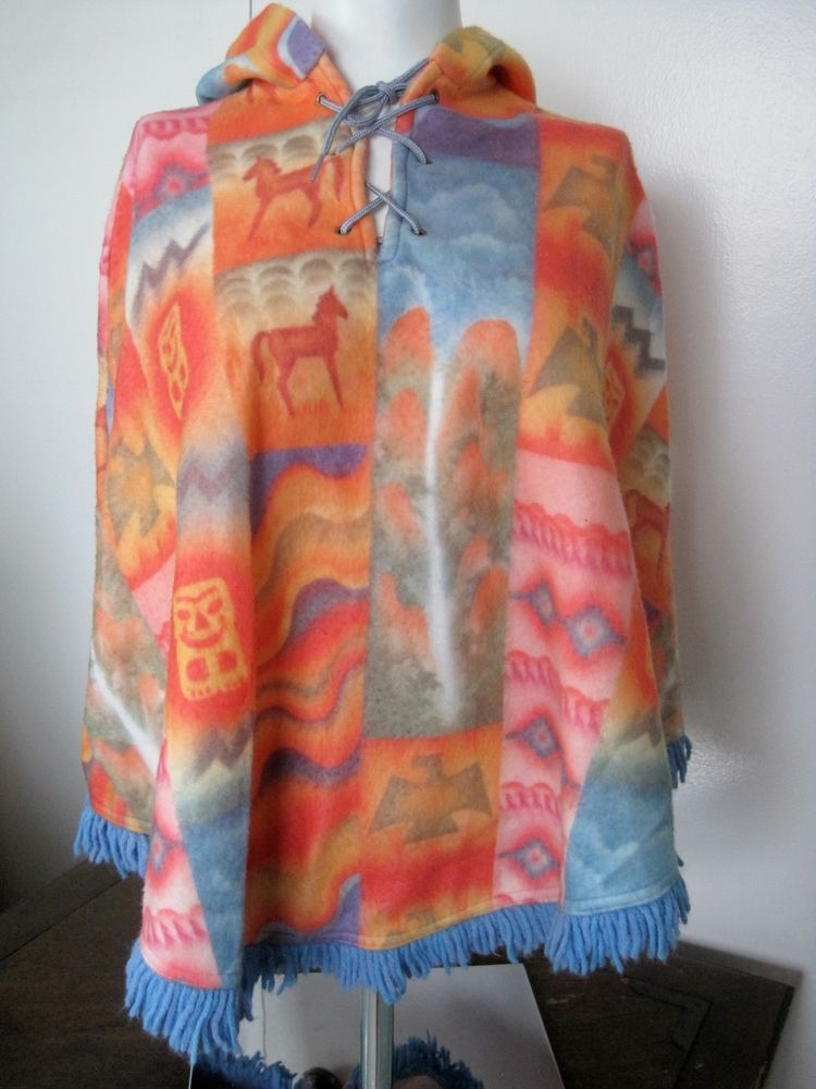9df2797dc41a9 Southwestern Poncho Pastel Hoodie Waterfall Horses Fleece Nature Country  Size L  Unknown  Hoodie  DressyEveryday. Find this Pin and more ...