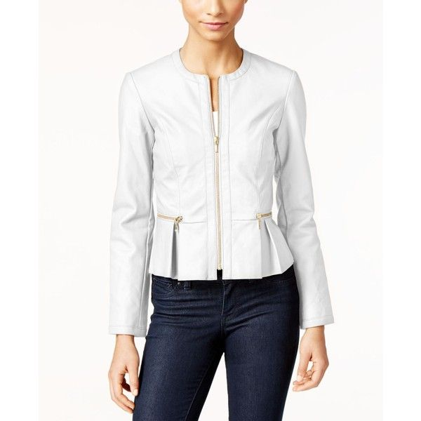 Inc International Concepts Macy's Faux-Leather Peplum Moto Jacket, ($100) ❤ liked on Polyvore featuring outerwear, jackets, bright white, faux leather biker jacket, fake leather jacket, synthetic leather jacket, faux leather moto jacket and faux leather jacket
