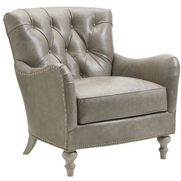Lexington Oyster Bay Westcott Tufted Leather Arm Chair ($3,695) ❤ Liked On  Polyvore Featuring