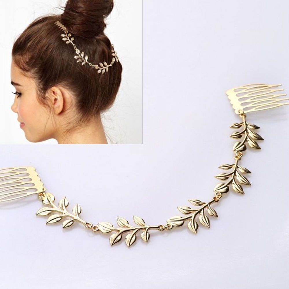 Hot Fashion Womens Unique Gold Tone Leaves Chain Fringe Hair Comb Cuff Head Band #yiwuwholesale
