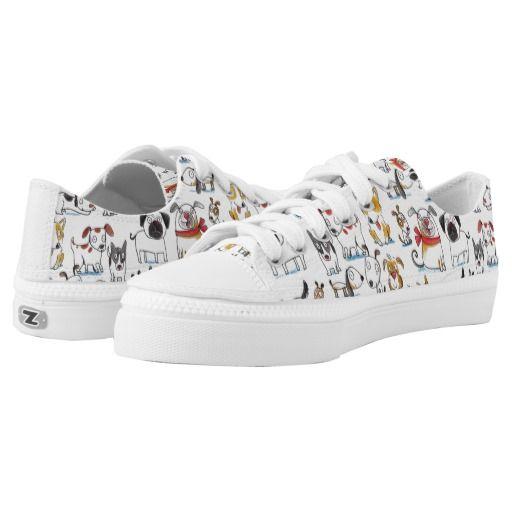 cute cartoon doodle dogs pattern Low-Top sneakers   Zazzle.com
