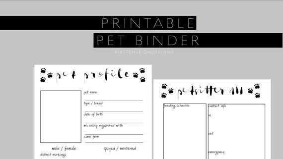 Pet Binder Pet Care Information Pdf Instant Download Dog