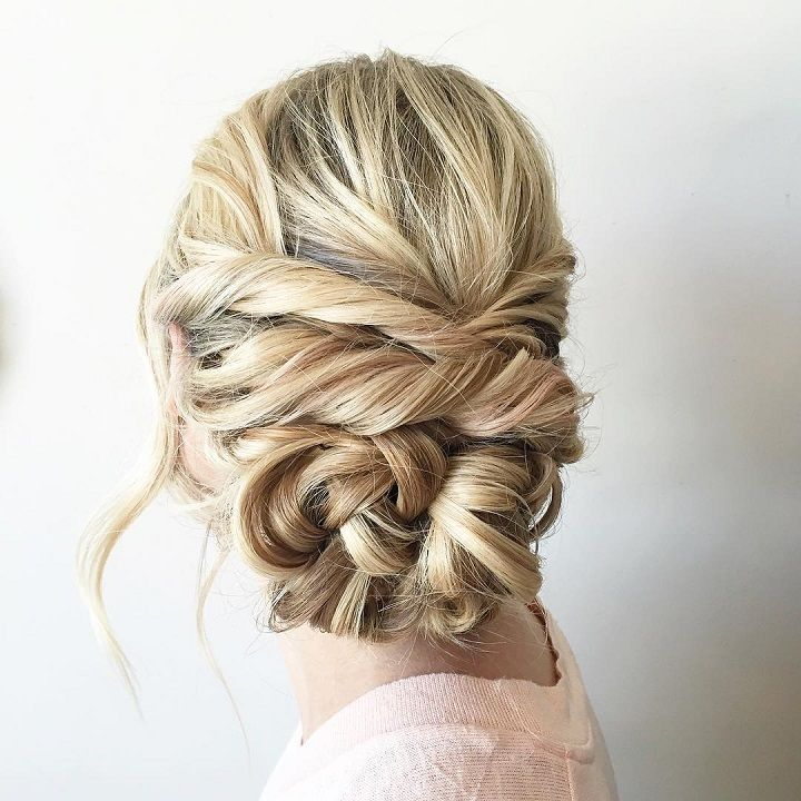 Boho Bridal Hairstyles For Carefree Bride: Beautiful Boho Braid Updo Wedding Hairstyle For Romantic
