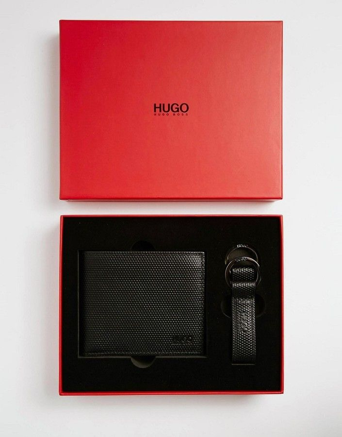 2ee7a2aca32 BOSS Hugo Boss Weave Leather Billfold Wallet & Keychain Gift Set-  7112style.website -