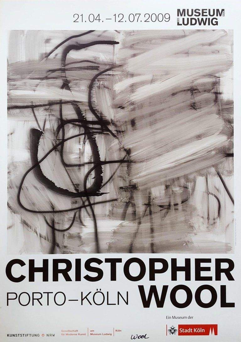 After Christopher Wool Christopher Wool Porto Koln Signed Modern Abstract Print Wool Art Exhibition Poster